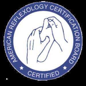 Certified member of American reflexology certification board logo.