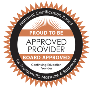 National certification board approved provider for the therapeutic massage and body works logo
